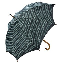 Sheet Music Umbrella with Wooden Handle - Black/White