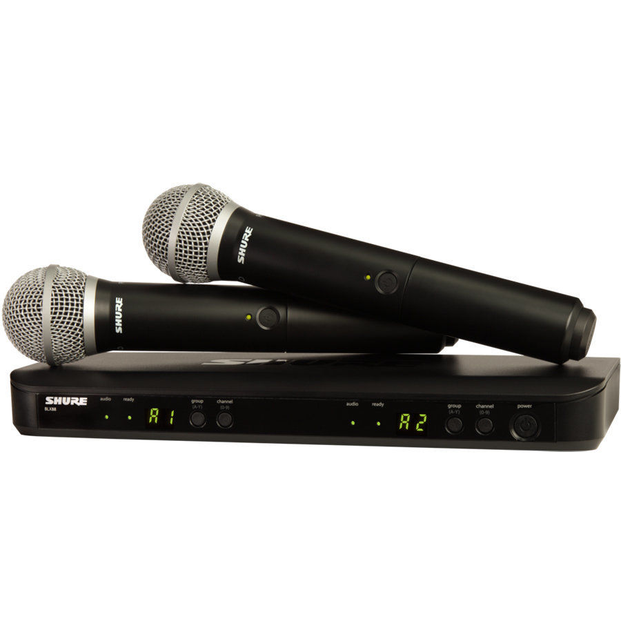 View larger image of Shure BLX288/PG58 Dual-Channel Wireless Handheld Microphone System - H10 Band