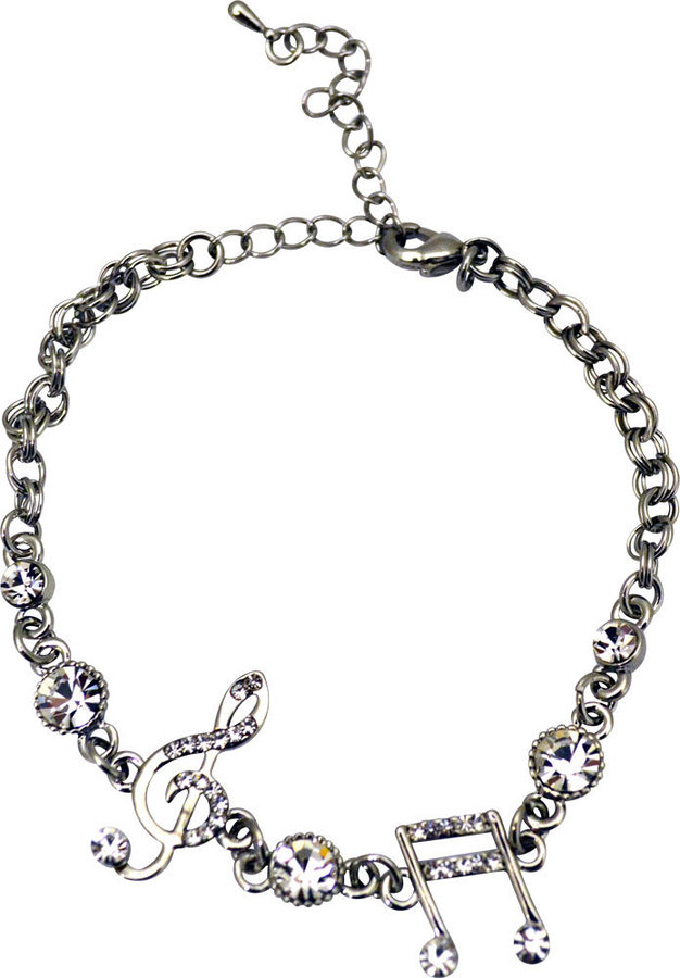 View larger image of Silver Bracelet with Treble Clef, Notes and Rhinestones
