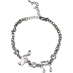 Silver Bracelet with Treble Clef, Notes and Rhinestones