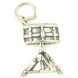 Snare Drum Silver Charm - On Stand