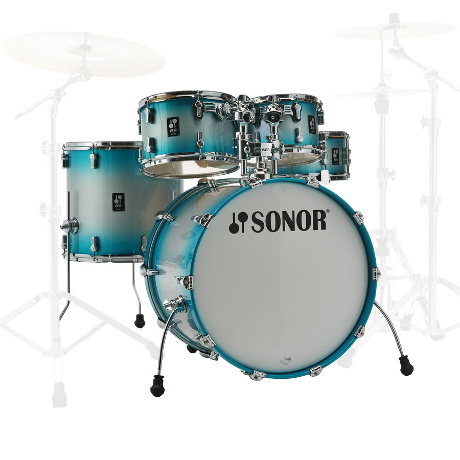 View larger image of Sonor AQ2 Stage 5-Piece Shell Pack - 22/14SD/16FT/12/10, Aqua Silver Burst
