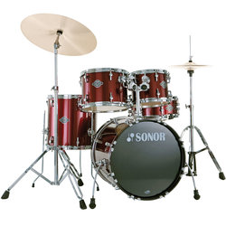 Sonor Smart Force Stage 1 5-Piece Drum Kit - 22/14SD/16FT/13/12, Hardware, Wine Red