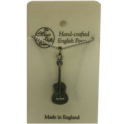Spanish Guitar Necklace - Pewter