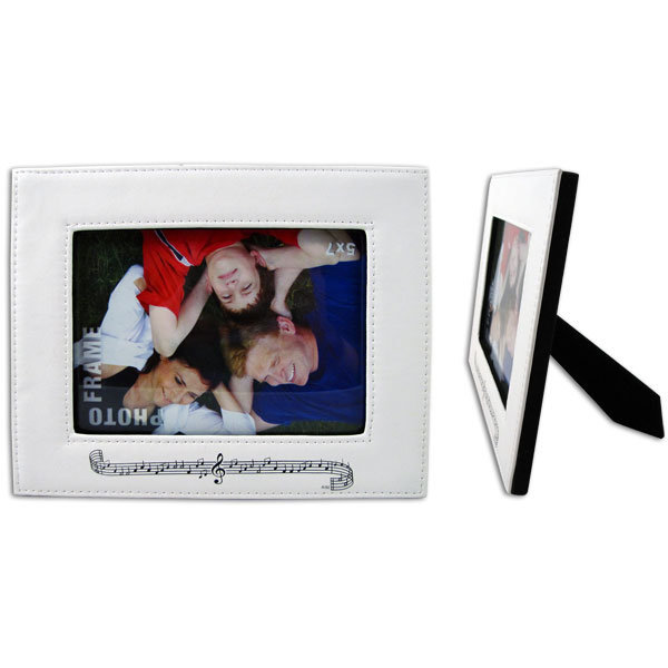 View larger image of Staff and Notes Leather Picture Frame - White, Horizontal