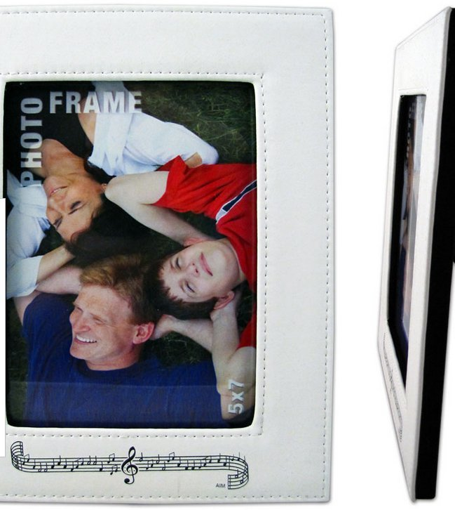 View larger image of Staff and Notes Leather Picture Frame - White, Vertical
