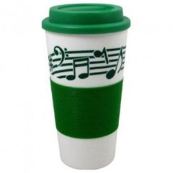 Staff with Notes Tumbler with Grip and Lid - Green, 16oz