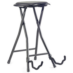Stagg Foldable Round Stool with Built-In Guitar Stand