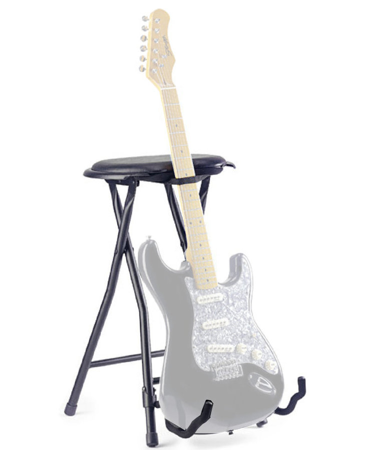 View larger image of Stagg Foldable Round Stool with Built-In Guitar Stand