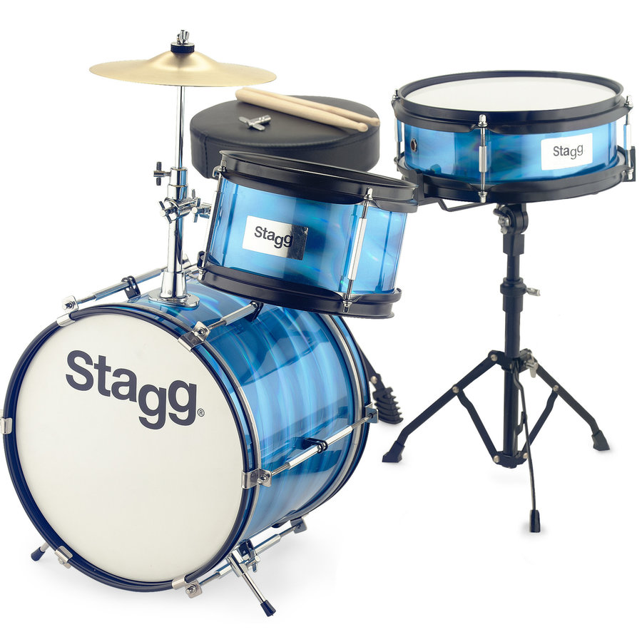 View larger image of Stagg Junior 3-Piece Drum Kit - 12BD/10SD/8, Hardware, Cymbal, Throne, Blue