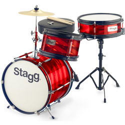 Stagg Junior 3-Piece Drum Kit - 12BD/10SD/8, Hardware, Cymbal, Throne, Red