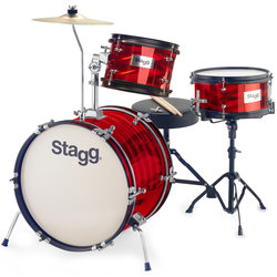 Stagg Junior 3-Piece Drum Kit - 16BD/10SD/8, Hardware, Cymbal, Throne, Red