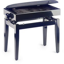 Stagg Piano Bench with Spare Case and Fireproof Velvet Top - Highloss Black