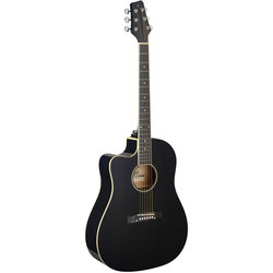 Stagg SA35 Dreadnought Acoustic-Electric Guitar - Black, Left