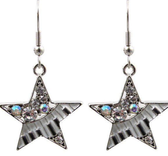 View larger image of Star Earrings with Keyboard and Crystals