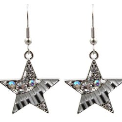 Star Earrings with Keyboard and Crystals