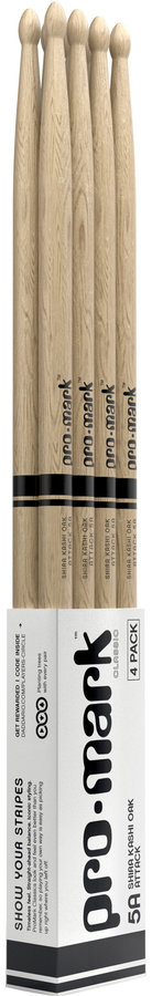 View larger image of ProMark Classic Attack Drumsticks - Shira Kashi Oak, 5A, Wood Tip, 4 Pack