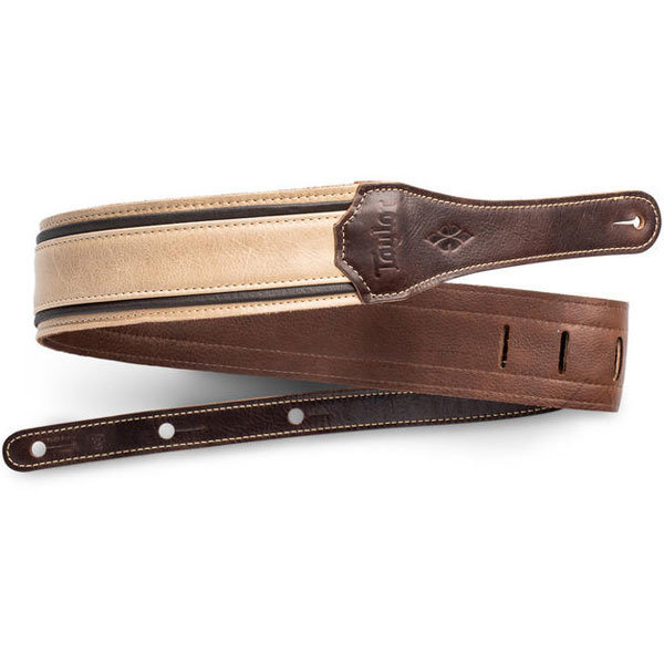 """View larger image of Taylor Reflections Leather Guitar Strap - Light Spruce / Ebony, 2-1/2"""""""