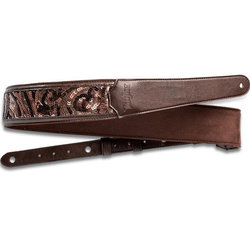 """Taylor Vegan Leather Guitar Strap - 2-1/4"""", Chocolate Brown Sequins"""