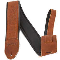 Martin Embossed Garment Leather Guitar Strap - Brown