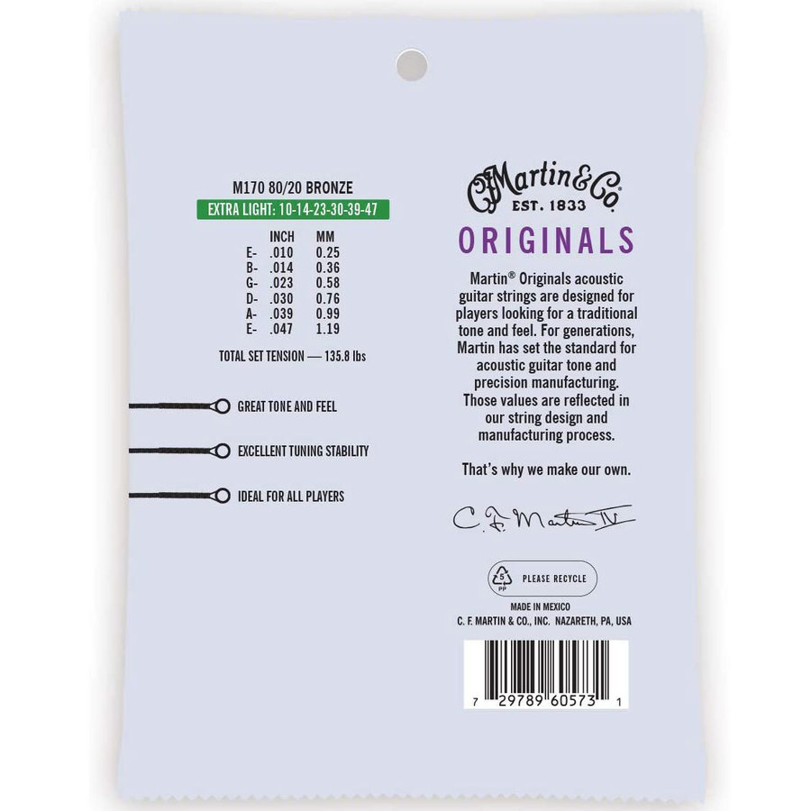 View larger image of Martin Original 80-20 Acoustic Guitar Strings - Bronze, Extra Light