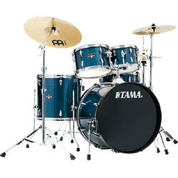 Tama Imperialstar 5-Piece Drum Kit - 20/14SD/14FT/12/10, Hardware, Cymbals, Throne, Hairline Blue