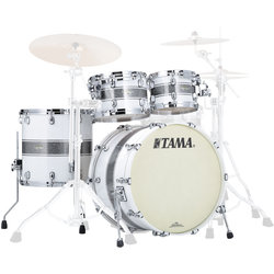 Tama Starclassic Maple 4-Piece Shell Pack - 22/16FT/12/10, Silver Snow Racing Stripe