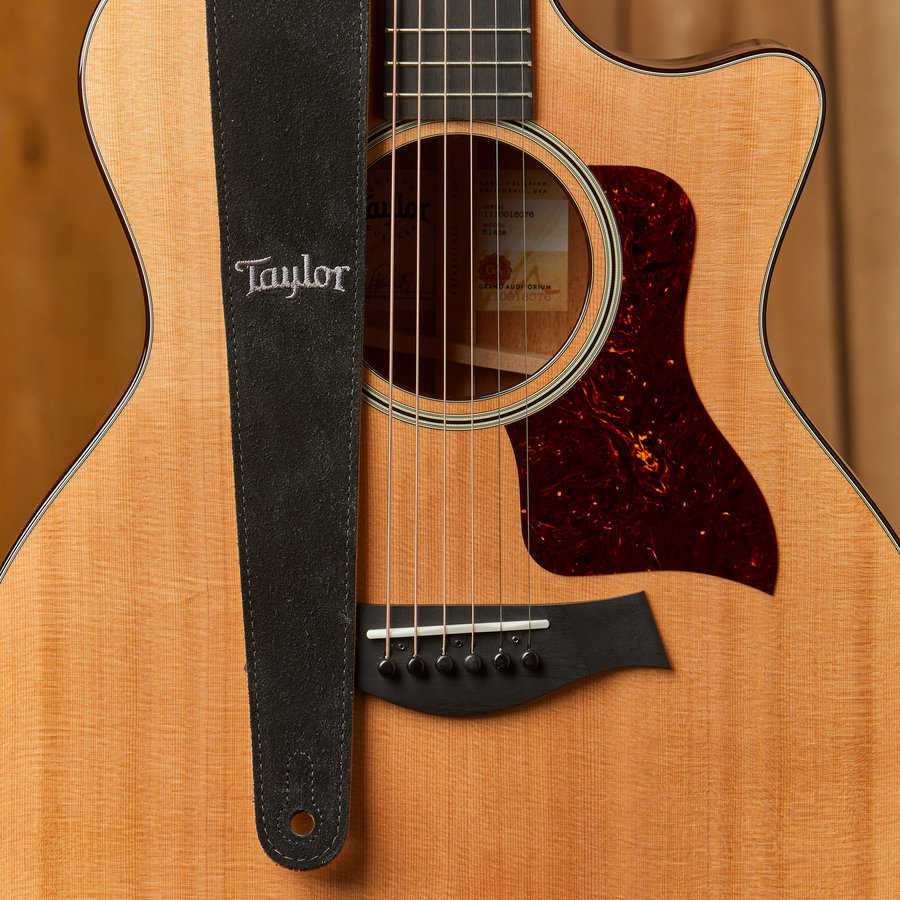 """View larger image of Taylor Embroidered Leather Guitar Strap - Suede Back, Black, 2-1/2"""""""