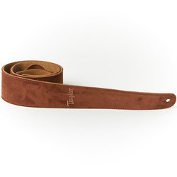 """Taylor Embroidered Leather Guitar Strap - Suede Back, Chocolate Brown, 2-1/2"""""""