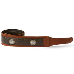 """Taylor Grand Pacific Leather Guitar Strap - Black/Brown with Conchos, 3"""""""