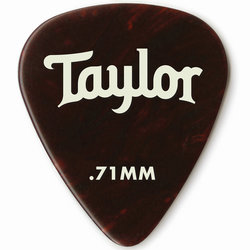 Taylor Picks - Celluloid 351, Tortoise Shell, .71 mm, 12 Pack