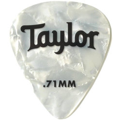 Taylor Picks - Celluloid 351, White Pearl, .71 mm, 12 Pack