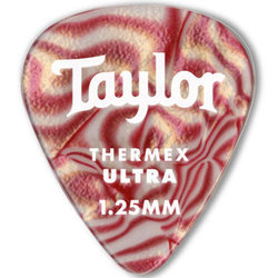 Taylor Picks - Premium Darktone 351 Thermex Ultra, Ruby Swirl, 1.25 mm, 24 Pack