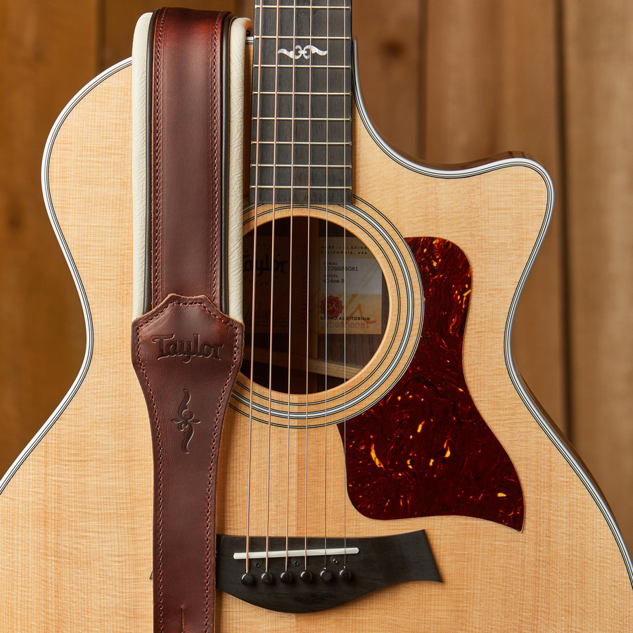 """View larger image of Taylor Renaissance Leather Guitar Strap - Brown, 2-1/2"""""""