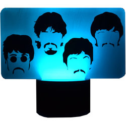 The Beatles Side by Side Faces 3D LED Lamp