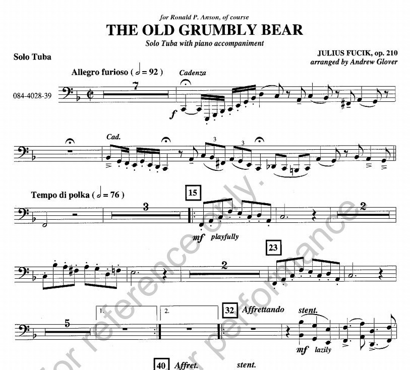 View larger image of The Old Grumbly Bear - Tuba and Piano