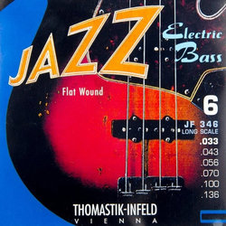 Thomastik-Infeld Flat Wound Jazz 6-String Electric Bass Guitar Strings - Medium, Long Scale, 33-136