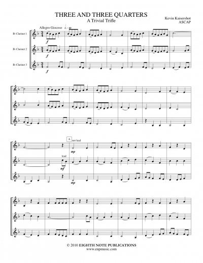 View larger image of Three and Three Quarters - A Trivial Trifle -(Clarinet Trio)