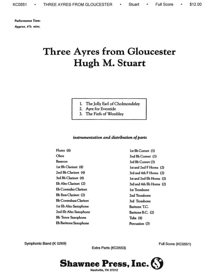 View larger image of Three Ayres from Gloucester - Score, Grade 3