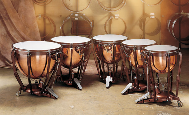 View larger image of Timpani Set with Gauges - Set of 4, Hammered Copper