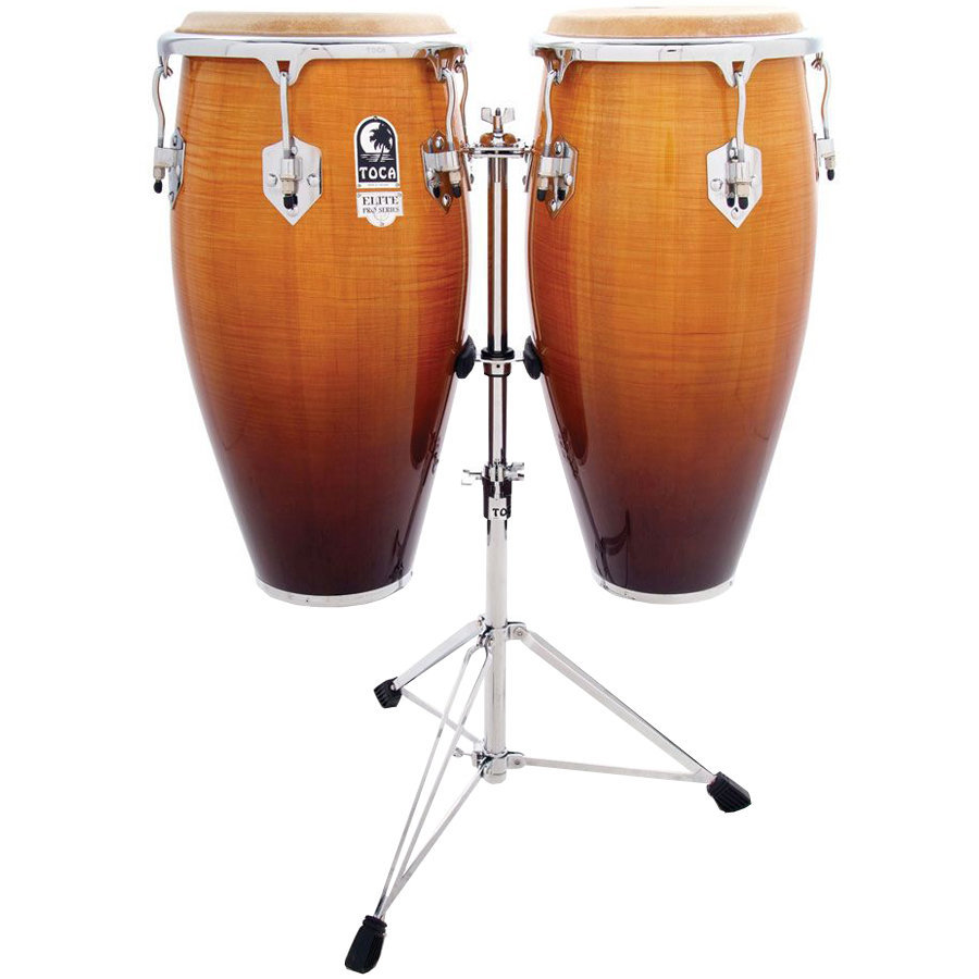 View larger image of Toca Elite Pro Wood Conga Set - 11 & 11 3/4, with Stand, Natural Maple Fade