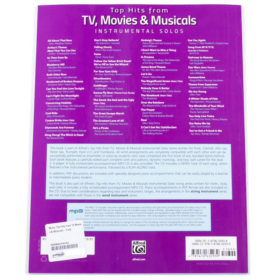 View larger image of Top Hits from TV, Movies & Musicals Instrumental Solos - Flute