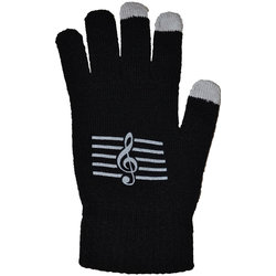 Touchless Gloves with G-Clef - Black/White