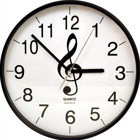 View larger image of Treble Clef Clock - Black and White