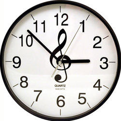 Treble Clef Clock - Black and White