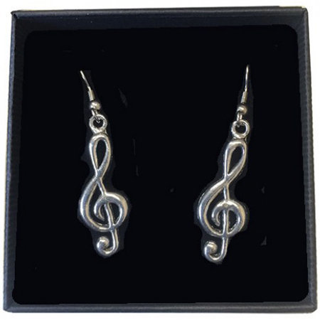 View larger image of Treble Clef Earrings - Pewter