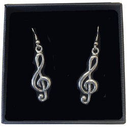 Treble Clef Earrings - Pewter