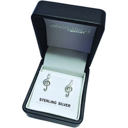 Treble Clef Earrings - Sterling Silver