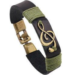 Treble Clef Leather Bracelet - Black