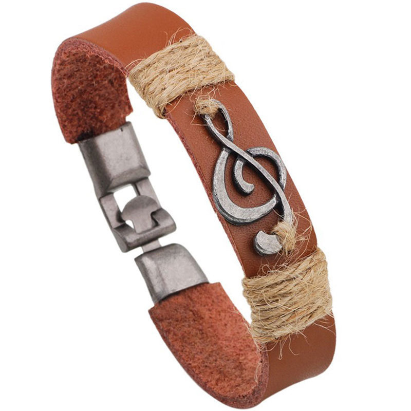 View larger image of Treble Clef Leather Bracelet - Brown
